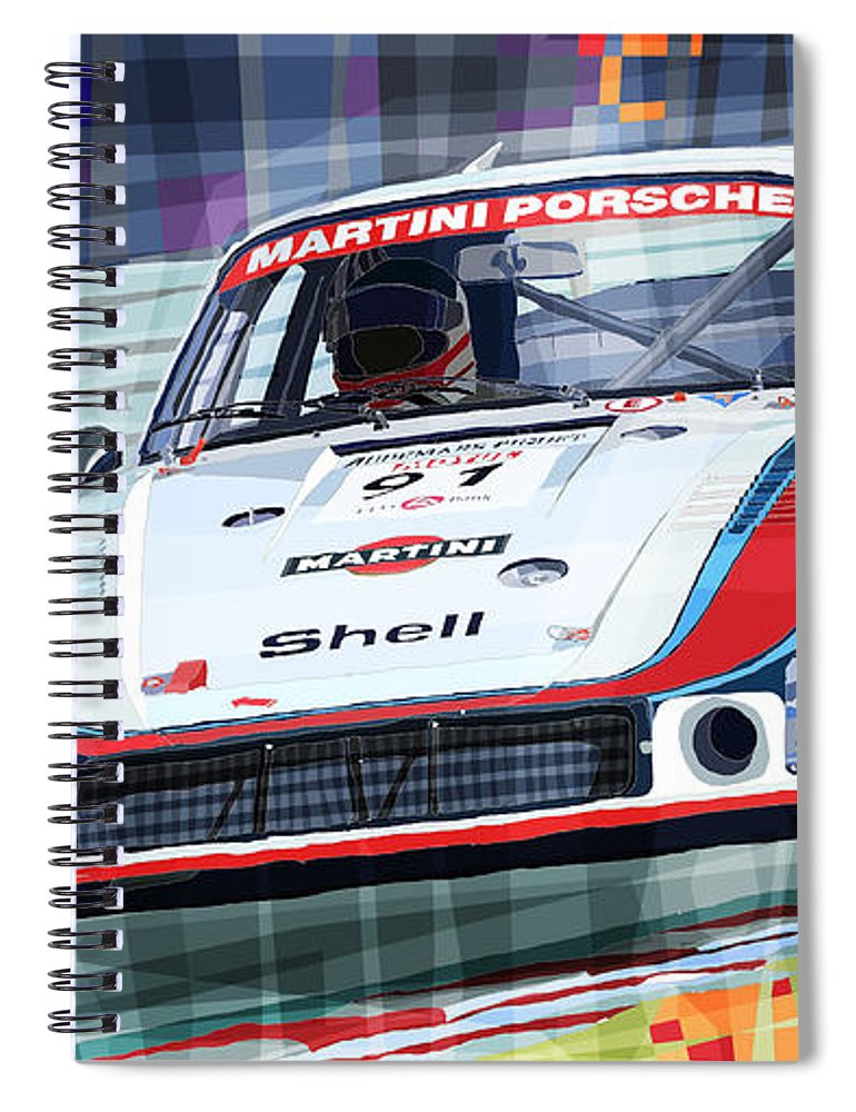 Automotive Spiral Notebook featuring the digital art Porsche 935 Coupe Moby Dick Martini Racing Team by Yuriy Shevchuk