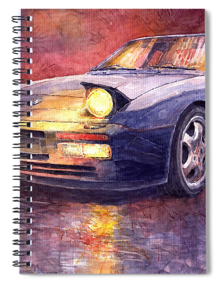Auto Spiral Notebook featuring the painting Porsche 944 Turbo by Yuriy Shevchuk