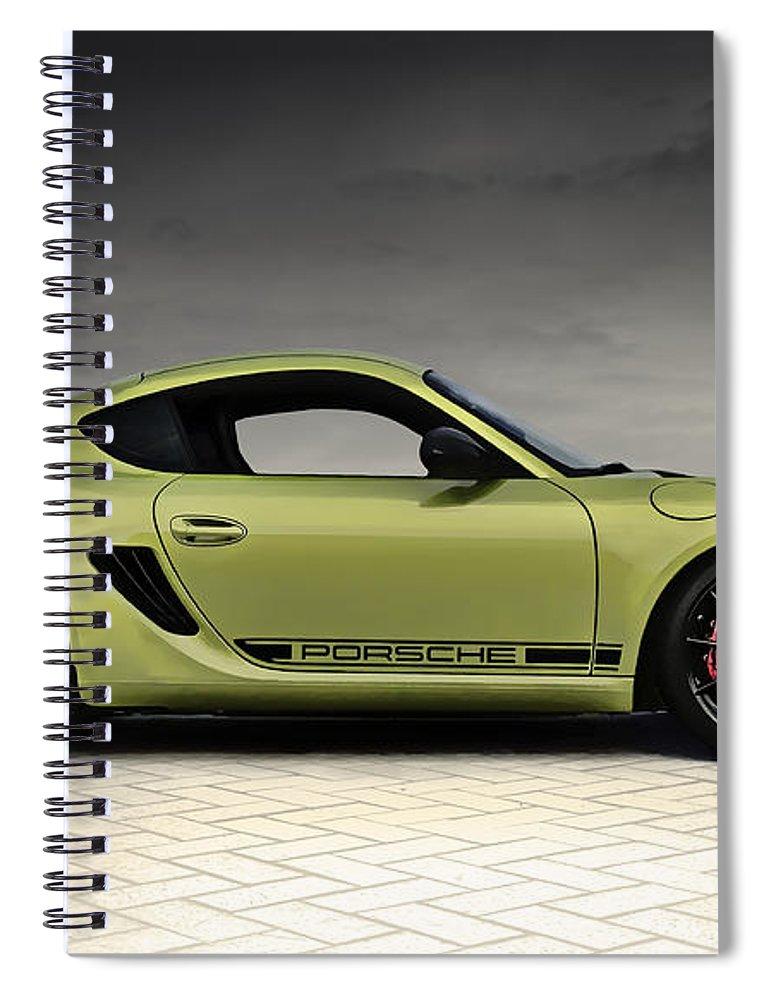 Porsche Spiral Notebook featuring the digital art Porsche Cayman R by Douglas Pittman