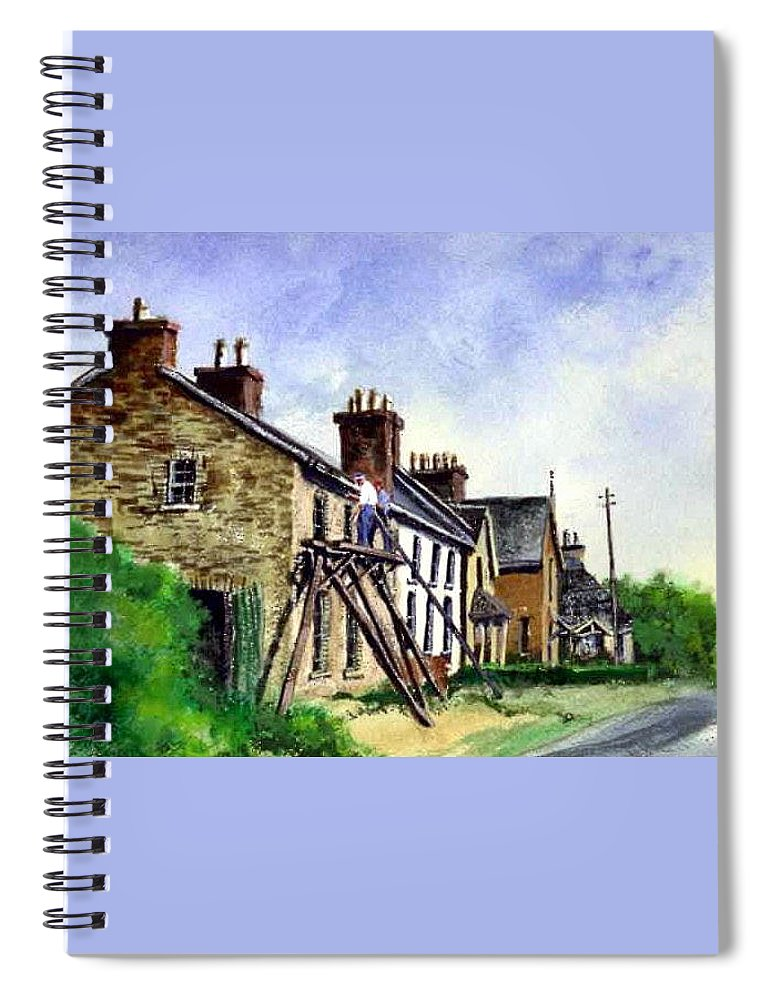 Water Color Spiral Notebook featuring the painting Port Rush Gutter Repair by Jim Gola