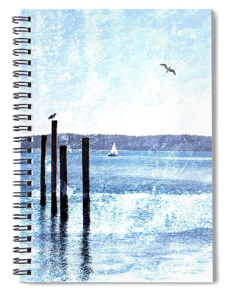 Port Townsend Spiral Notebook featuring the mixed media Port Townsend Pilings by Carol Leigh