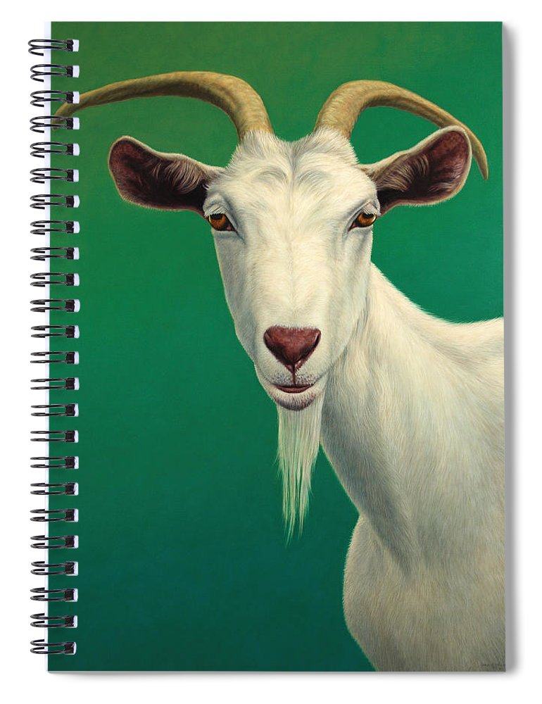 Goat Spiral Notebook featuring the painting Portrait of a Goat by James W Johnson