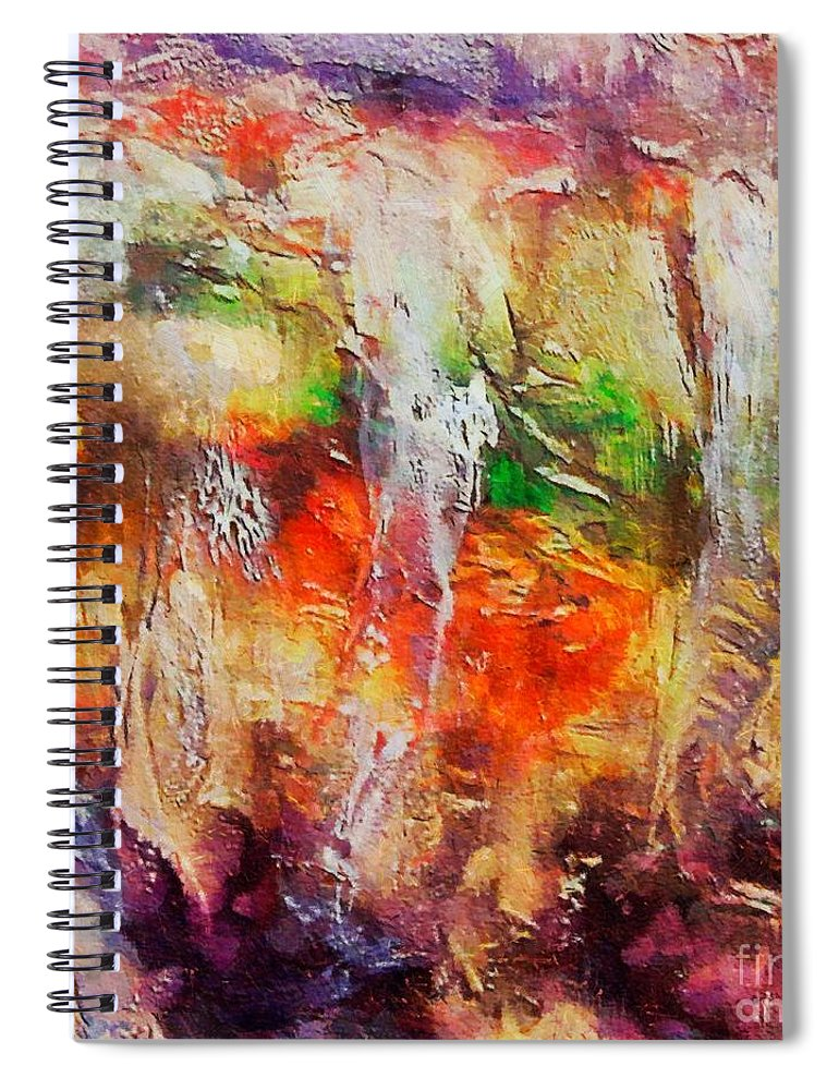 Cave Spiral Notebook featuring the painting Postojna Cave by Dragica Micki Fortuna