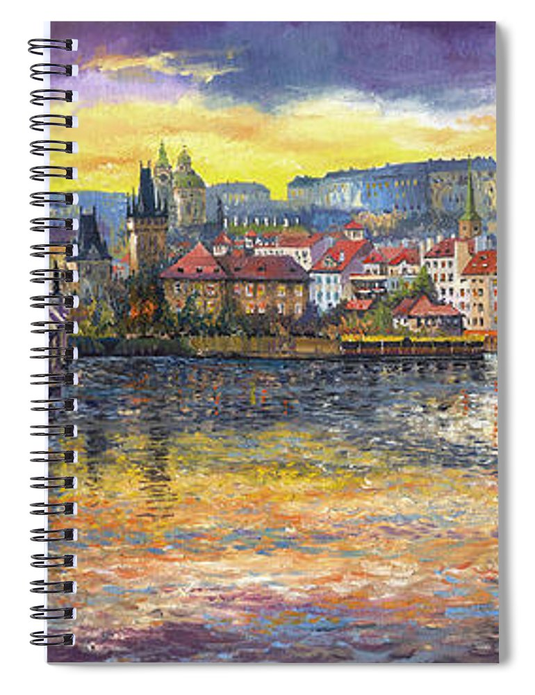 Oil On Canvas Spiral Notebook featuring the painting Prague Charles Bridge and Prague Castle with the Vltava River 1 by Yuriy Shevchuk