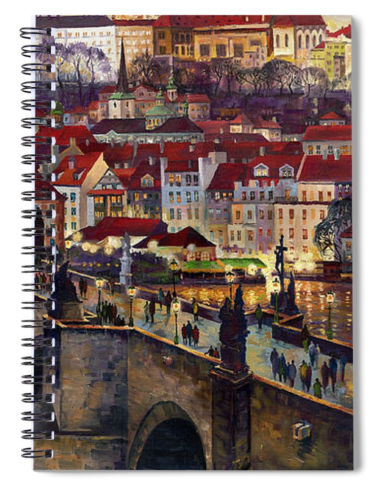 Prague Spiral Notebook featuring the painting Prague Charles Bridge with the Prague Castle by Yuriy Shevchuk