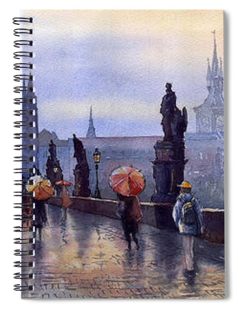 Cityscape Spiral Notebook featuring the painting Prague Charles Bridge by Yuriy Shevchuk