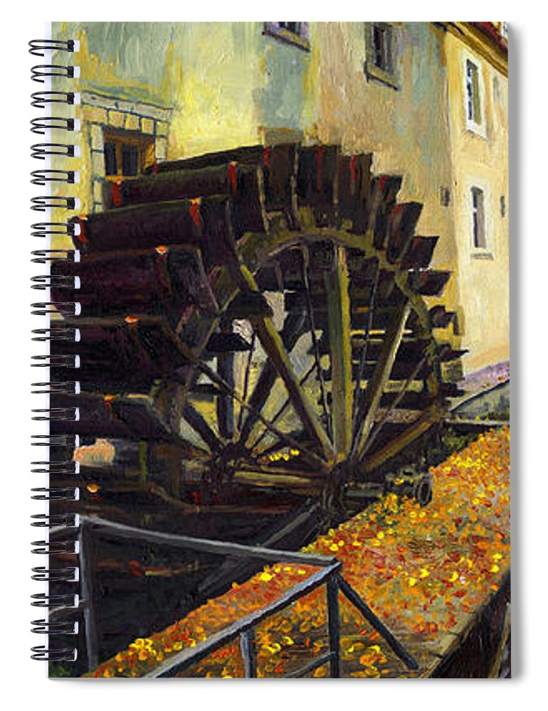 Prague Spiral Notebook featuring the painting Prague Chertovka by Yuriy Shevchuk