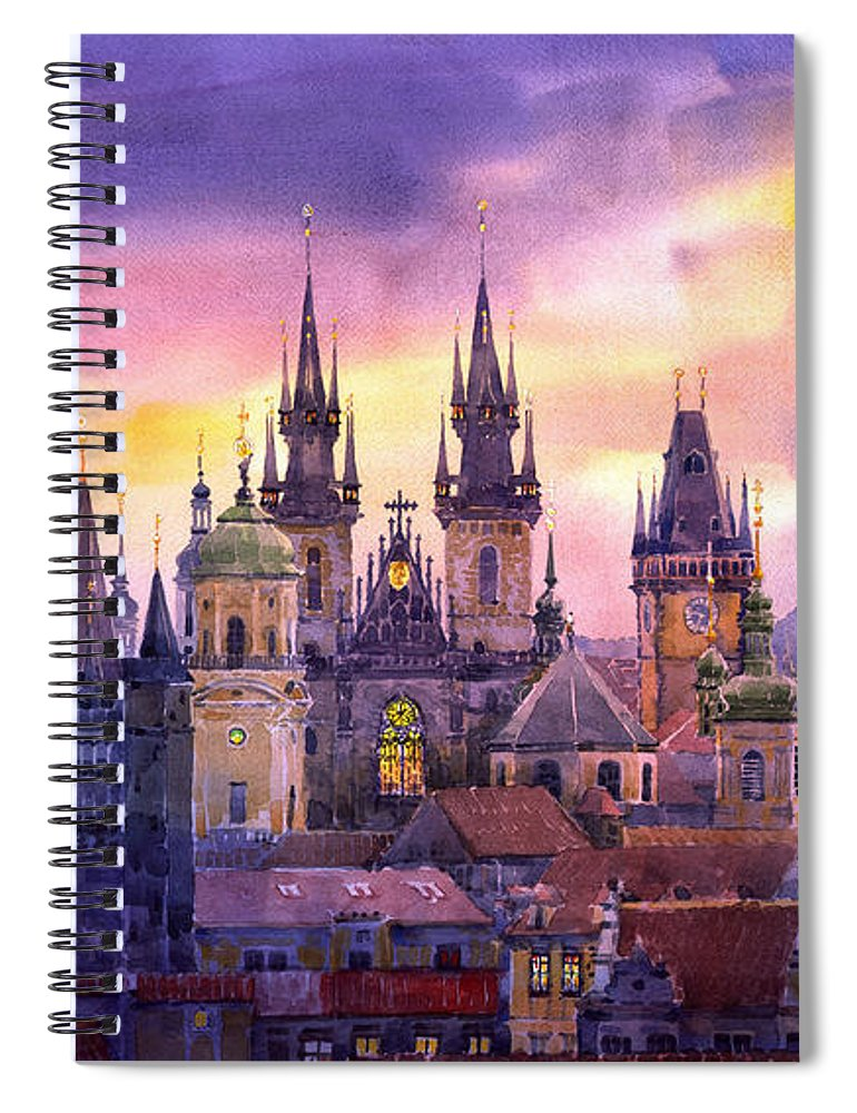 Architecture Spiral Notebook featuring the painting Prague City Of Hundres Spiers Variant by Yuriy Shevchuk