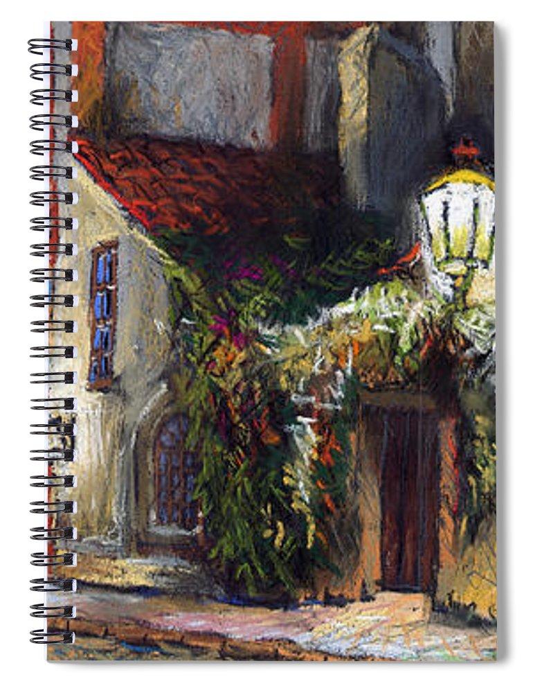 Prague Spiral Notebook featuring the painting Prague Novy Svet Kapucinska Str by Yuriy Shevchuk