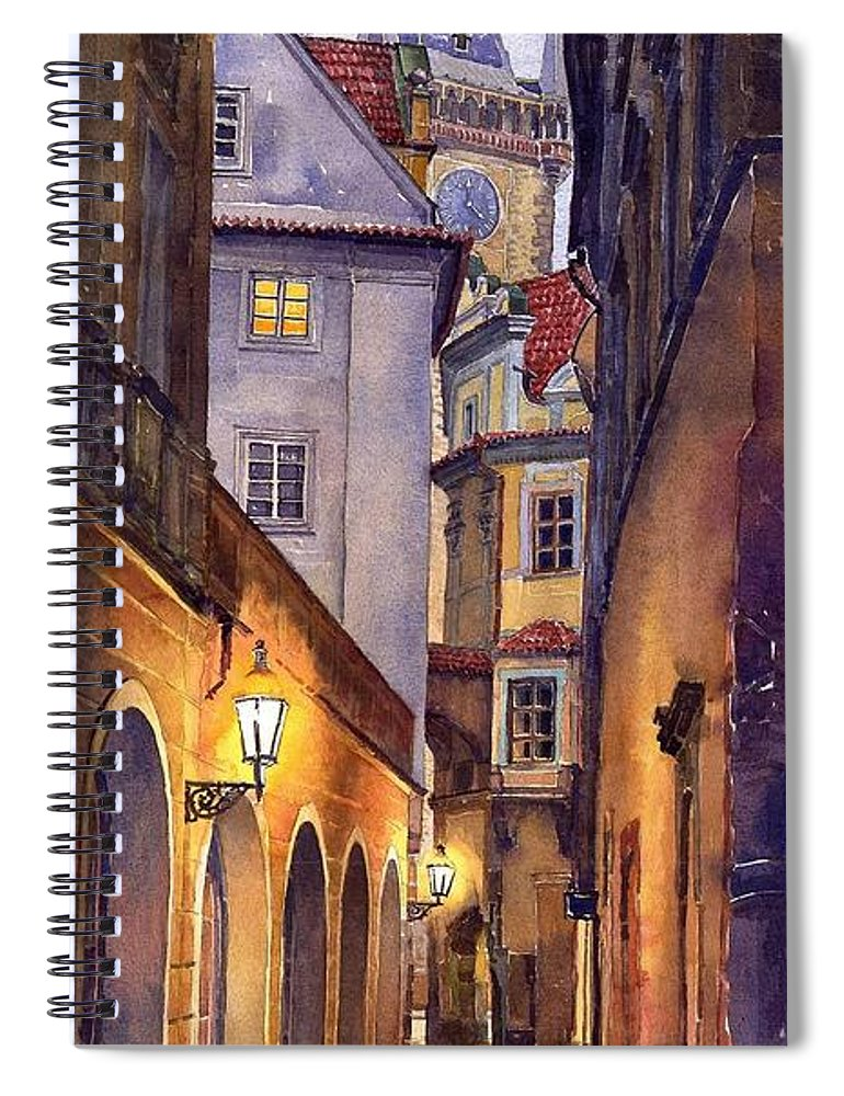 Cityscape Spiral Notebook featuring the painting Prague Old Street by Yuriy Shevchuk
