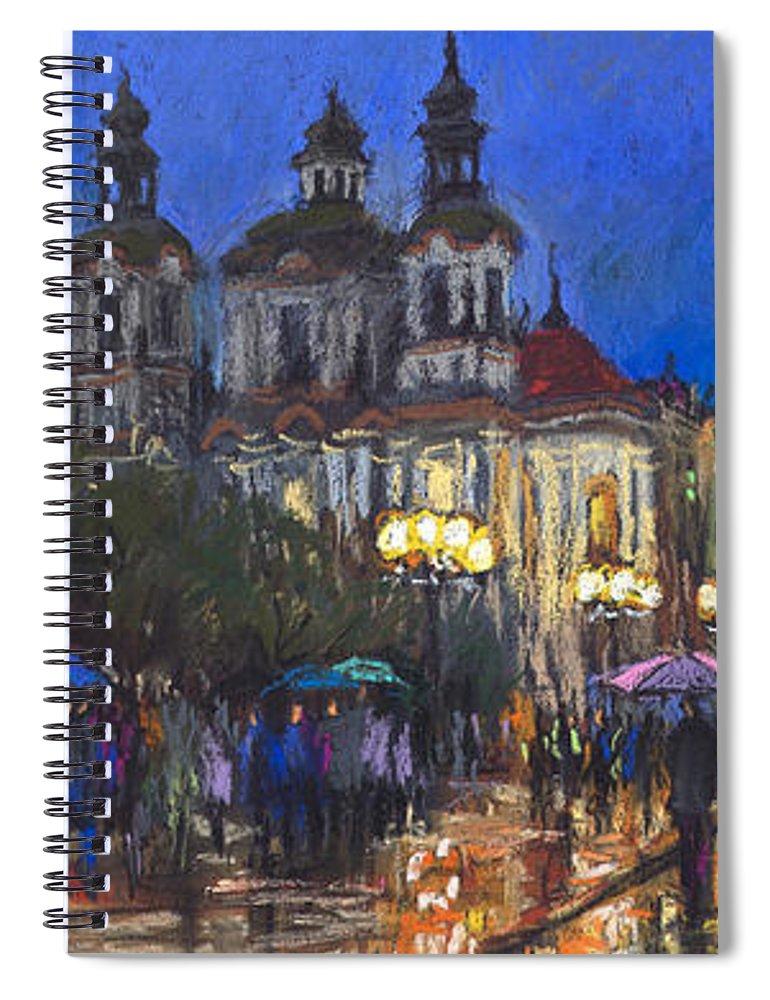 Prague Spiral Notebook featuring the pastel Prague Old Town Square St Nikolas Ch by Yuriy Shevchuk