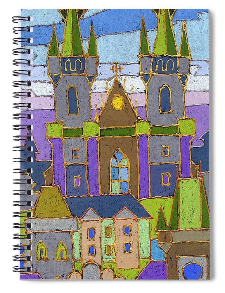 Pastel Spiral Notebook featuring the painting Prague Panorama by Yuriy Shevchuk