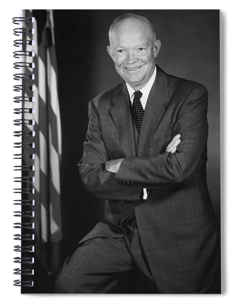 Eisenhower Spiral Notebook featuring the painting President Eisenhower And The U.s. Flag by War Is Hell Store