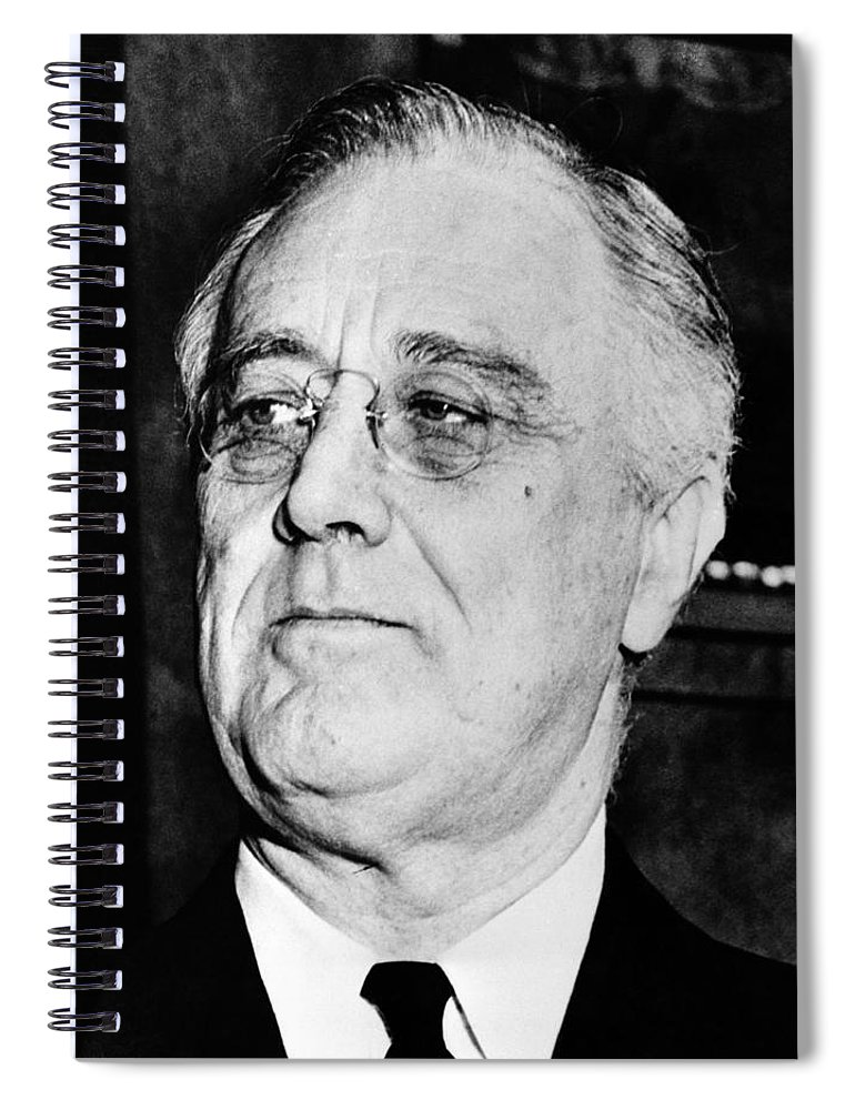 Franklin Roosevelt Spiral Notebook featuring the photograph President Franklin Delano Roosevelt by War Is Hell Store