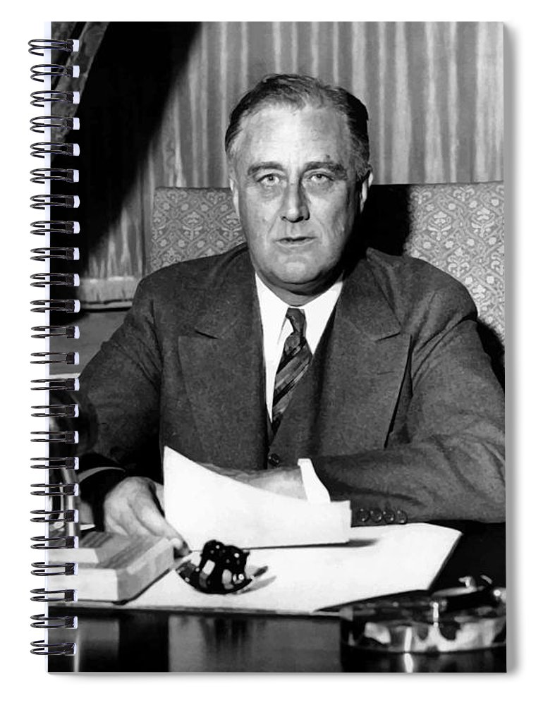 Franklin Roosevelt Spiral Notebook featuring the photograph President Franklin Roosevelt by War Is Hell Store