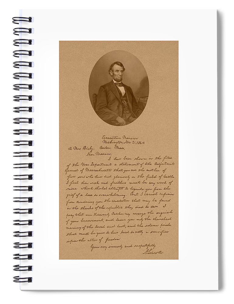 Bixby Letter Spiral Notebook featuring the mixed media President Lincoln's Letter To Mrs. Bixby by War Is Hell Store