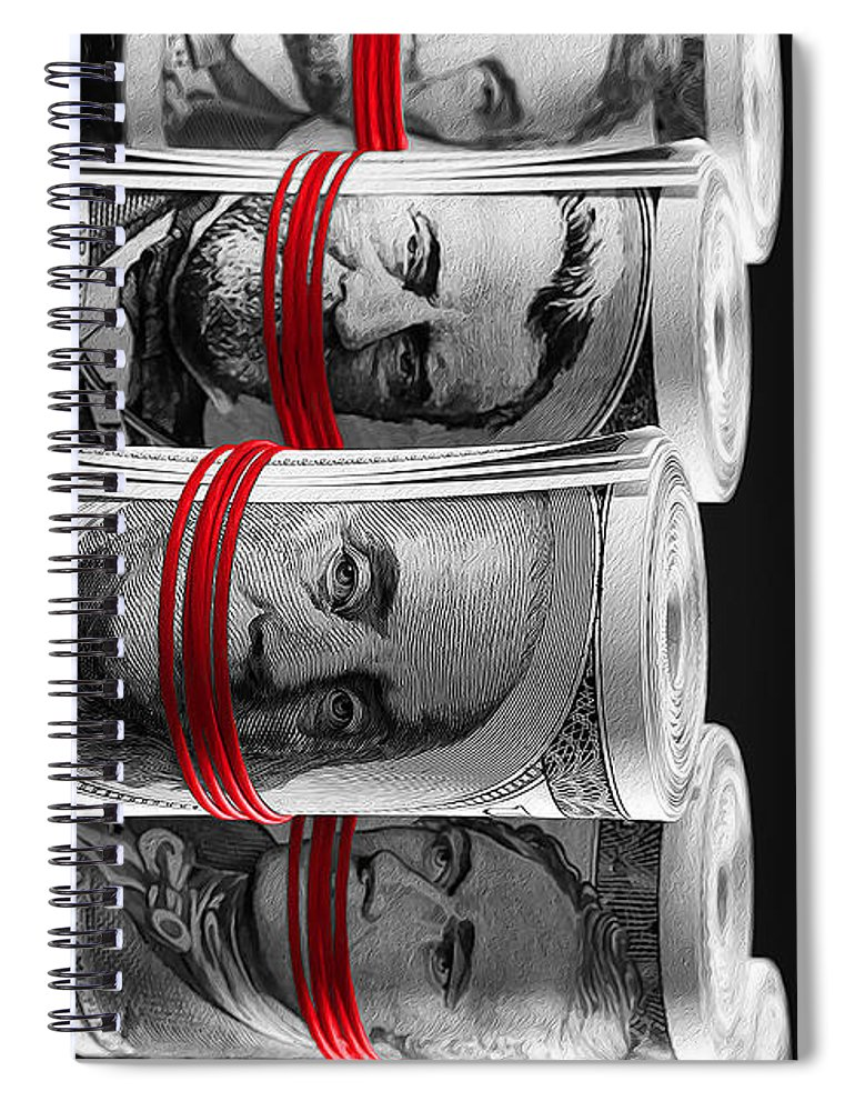 Money Spiral Notebook featuring the digital art Presidents For Ransom by Canvas Cultures