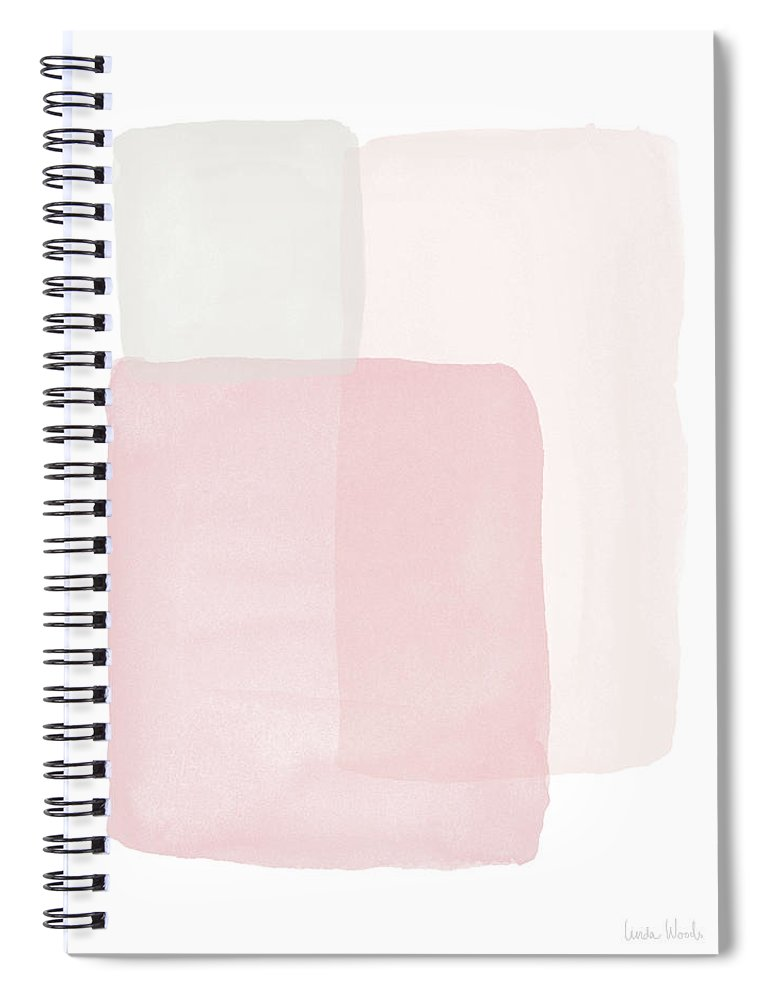 Watercolor Spiral Notebook featuring the painting Pretty Pink Boxes 1- Art by Linda Woods by Linda Woods