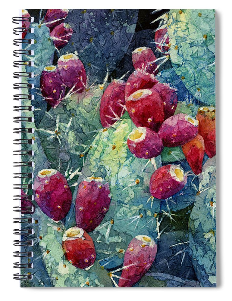 Cactus Spiral Notebook featuring the painting Prickly Pear 2 by Hailey E Herrera