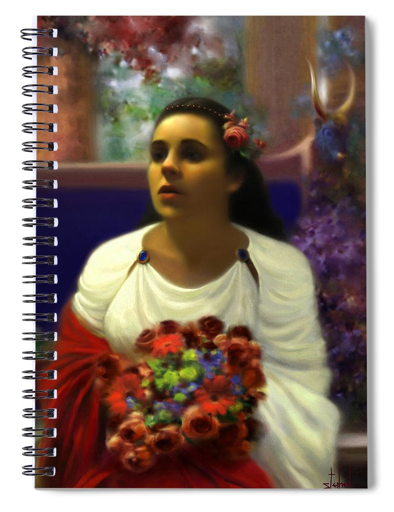 Goddess Spiral Notebook featuring the digital art Priestess of the Floral Temple by Stephen Lucas