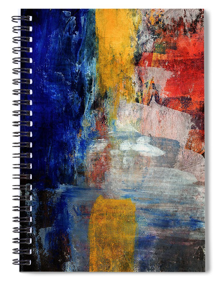 Abstract Painting Spiral Notebook featuring the mixed media Primary- Art By Linda Woods by Linda Woods