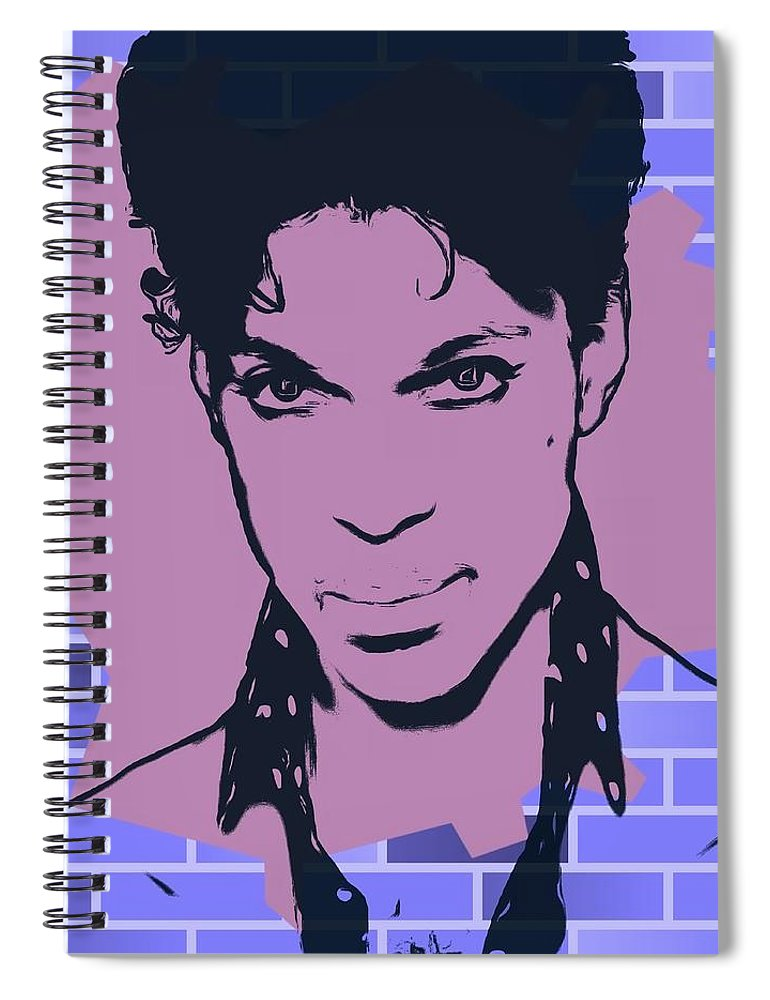 Prince Graffiti Tribute Spiral Notebook featuring the digital art Prince Graffiti Tribute by Dan Sproul