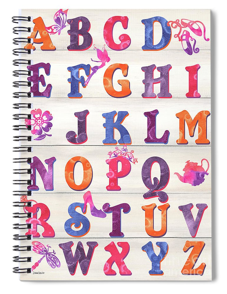 Princess Spiral Notebook featuring the painting Princess Alphabet by Debbie DeWitt