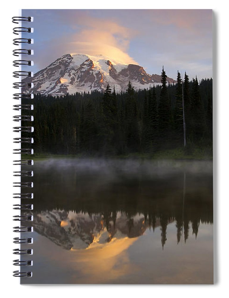 Rainier Spiral Notebook featuring the photograph Pristine Reflections by Mike Dawson