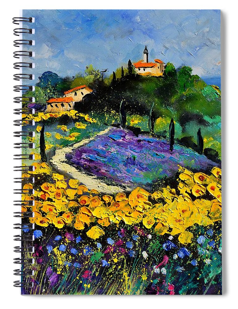 Landscape Spiral Notebook featuring the painting Provence 561140 by Pol Ledent