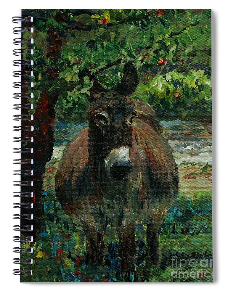 Donkey Spiral Notebook featuring the painting Provence Donkey by Nadine Rippelmeyer