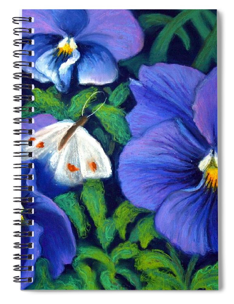 Pansy Spiral Notebook featuring the painting Purple Pansies and White Moth by Minaz Jantz