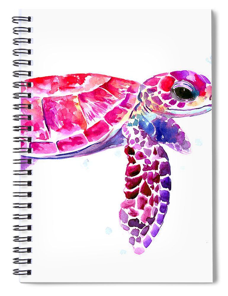 Turtle Spiral Notebook featuring the painting Purple Pink Sea Turtle by Suren Nersisyan