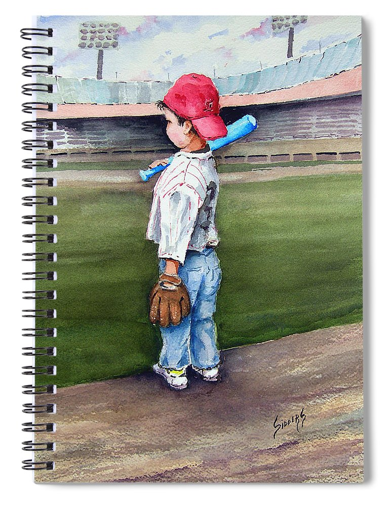 Baseball Spiral Notebook featuring the painting Put Me In Coach by Sam Sidders