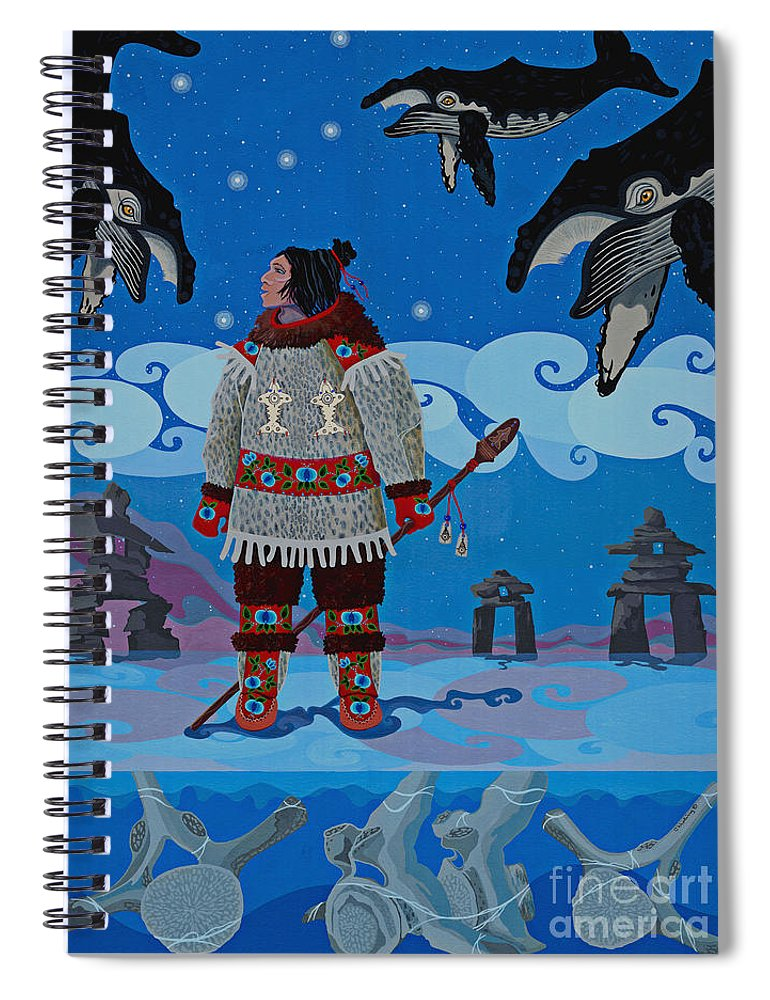 America Spiral Notebook featuring the painting Qikiqtaaluk Whale Dreamer by Chholing Taha