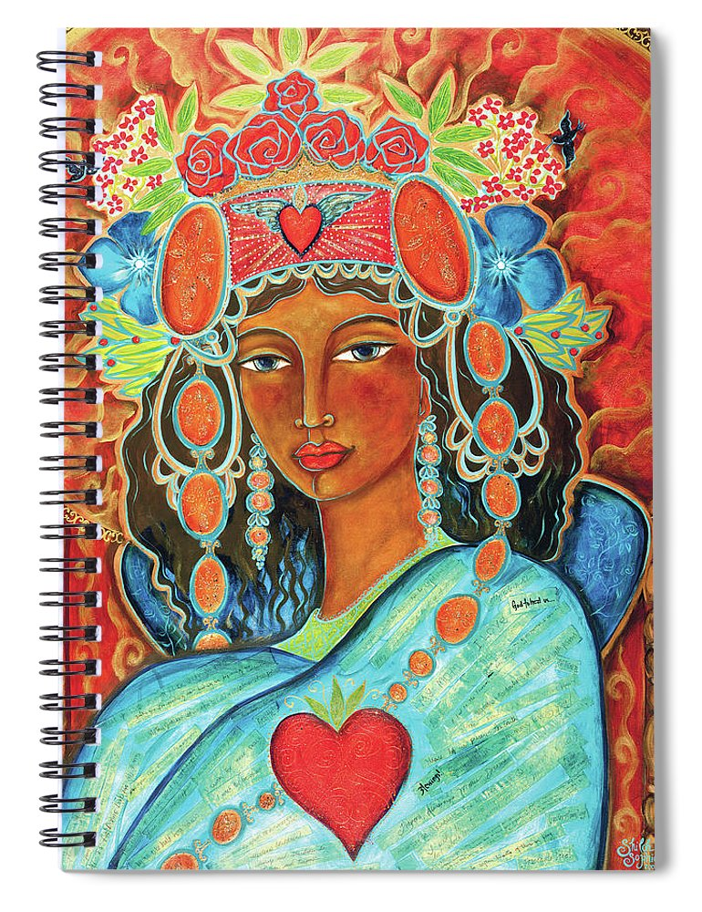 Queen Spiral Notebook featuring the painting Queen Of Her Own Heart by Shiloh Sophia McCloud
