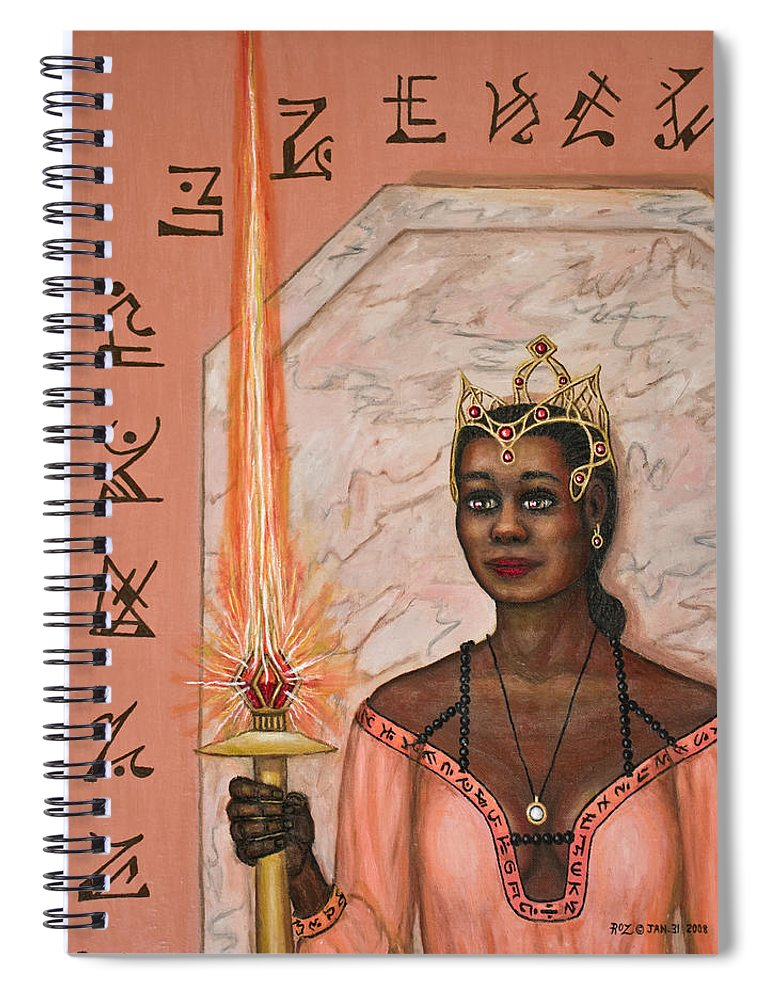 Fantasy Spiral Notebook featuring the painting Queens New Toy by Roz Eve