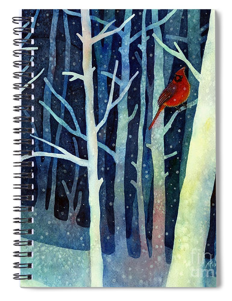 Cardinal Spiral Notebook featuring the painting Quiet Moment by Hailey E Herrera