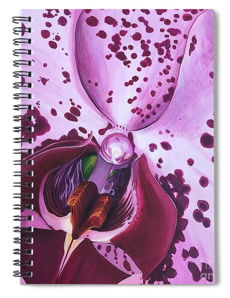 Phaleonopsis Spiral Notebook featuring the painting Quiet World by Hunter Jay