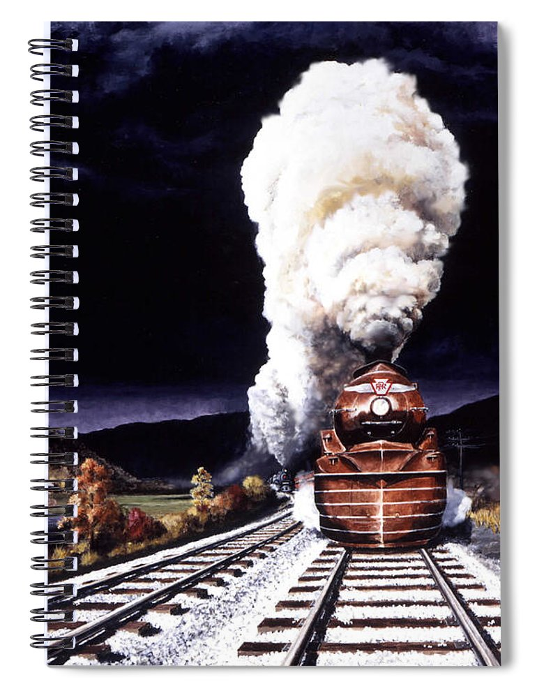 Train Spiral Notebook featuring the painting Racing the Storm by David Mittner
