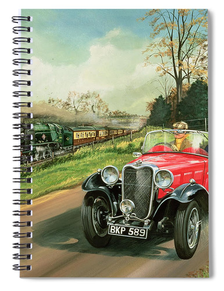 Car Spiral Notebook featuring the painting Racing The Train by Richard Wheatland