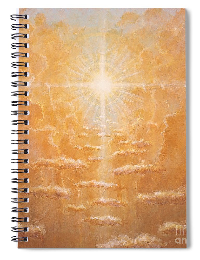 Sun; Sunlight; Rays; Cloud; Clouds; Sky; Bright; Sun Rays; Radiating;spirit; Spiritual; God; Cross; Light; Hope; God Spiral Notebook featuring the painting Radiance by Simon Cook