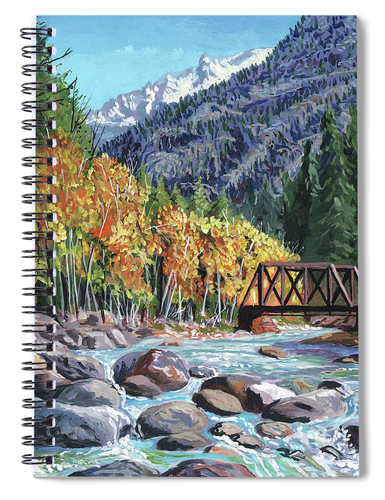 Timithy Spiral Notebook featuring the painting Rail Bridge At Cascade by Timithy L Gordon