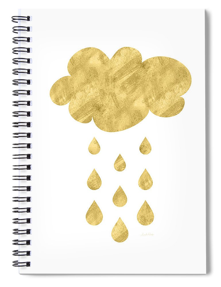 Rain Spiral Notebook featuring the mixed media Rain Cloud- Art By Linda Woods by Linda Woods