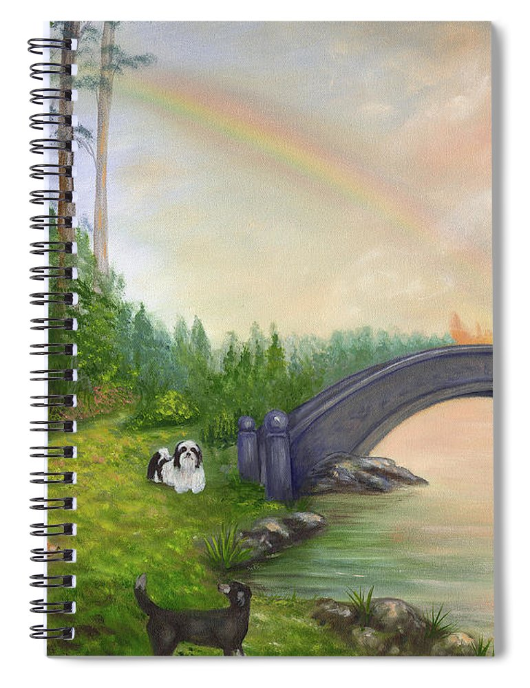 Pet Remembrance Spiral Notebook featuring the painting Rainbow Bridge by Anne Kushnick