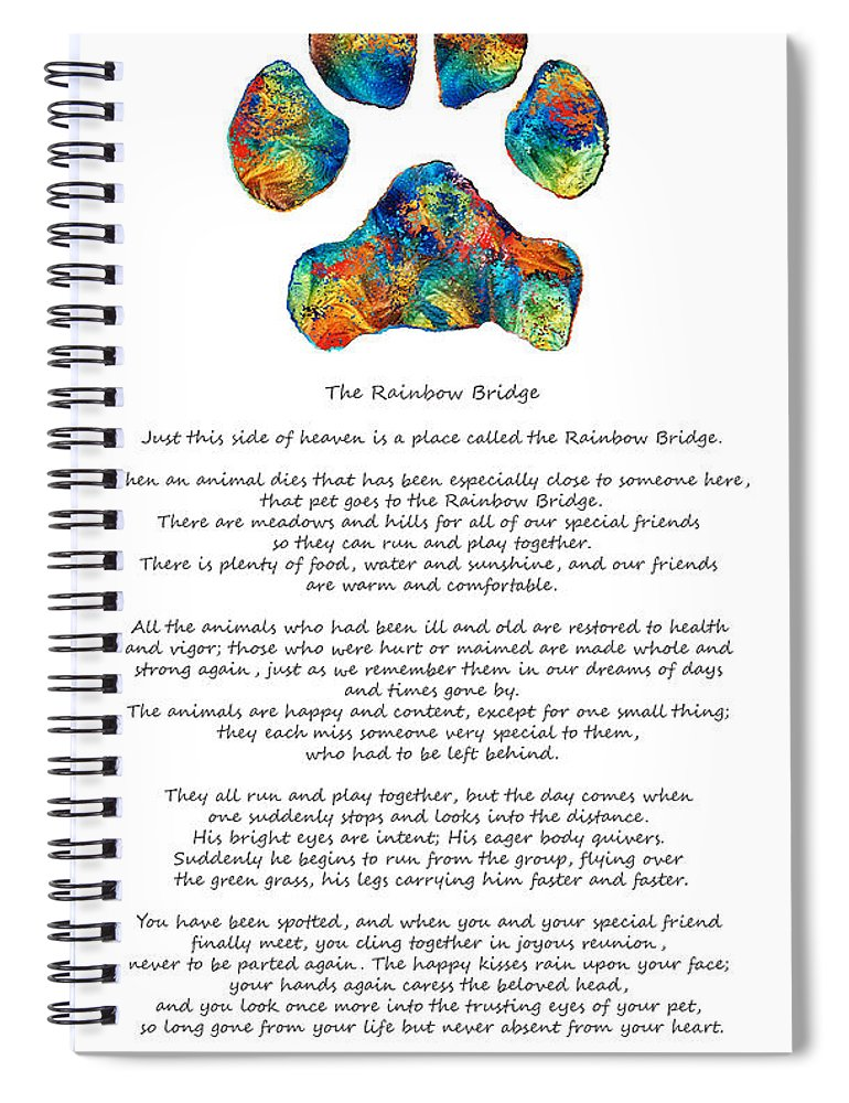 picture relating to Rainbow Bridge Poem Printable called Rainbow Bridge Poem With Colourful Paw Print By means of Sharon Cummings Spiral Laptop