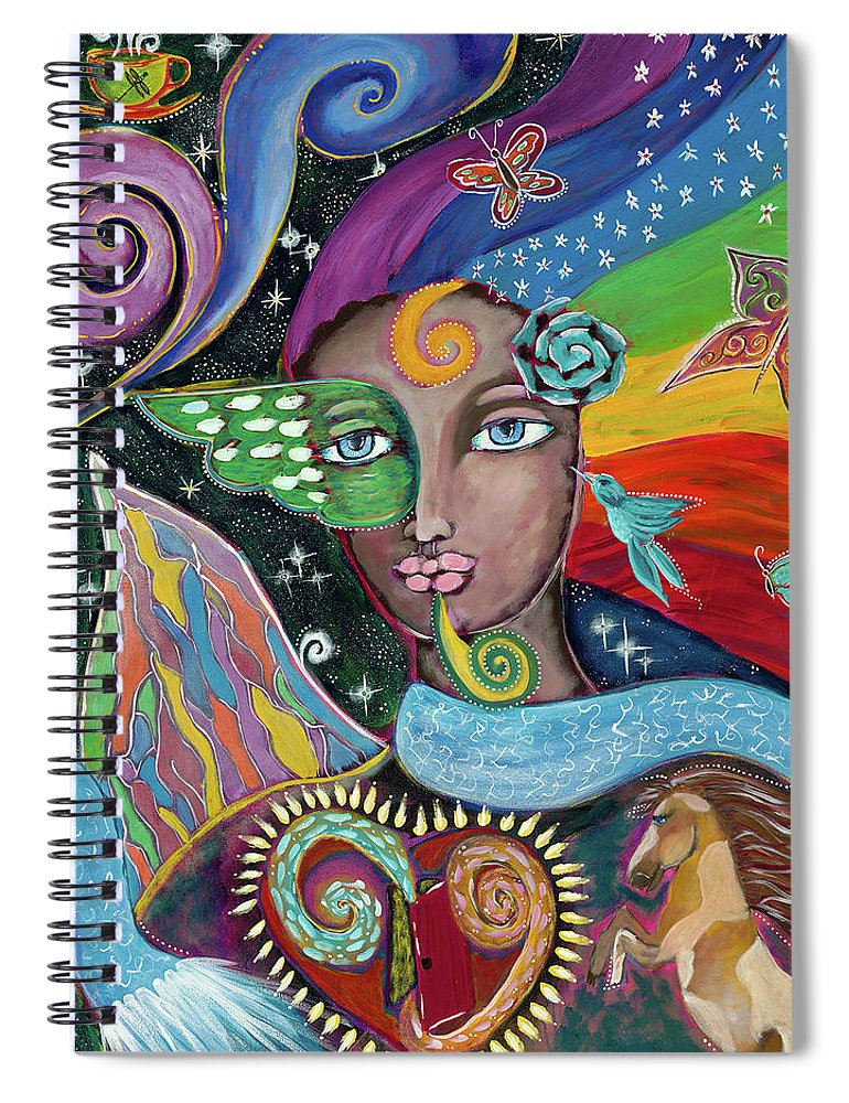 Intentional Creativity Spiral Notebook featuring the painting Rainbow Muse by Evelyne Verret