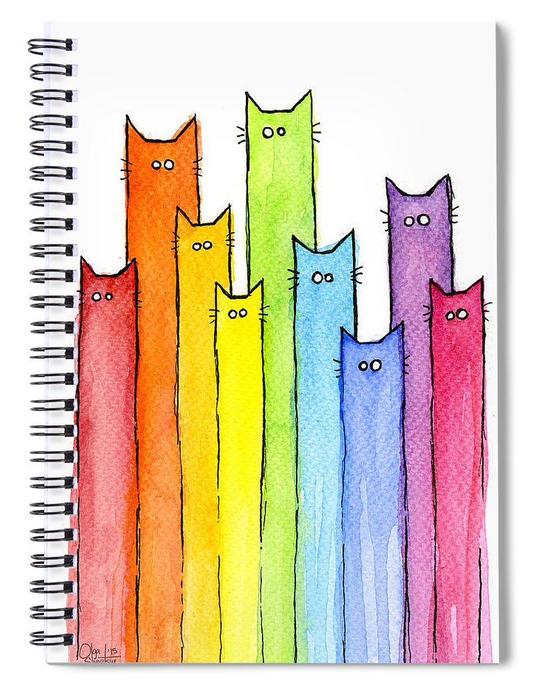 Watercolor Spiral Notebook featuring the painting Rainbow of Cats by Olga Shvartsur