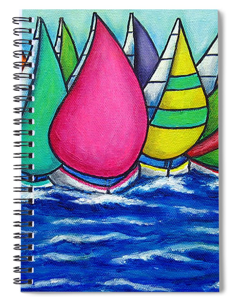 Boats Spiral Notebook featuring the painting Rainbow Regatta by Lisa Lorenz