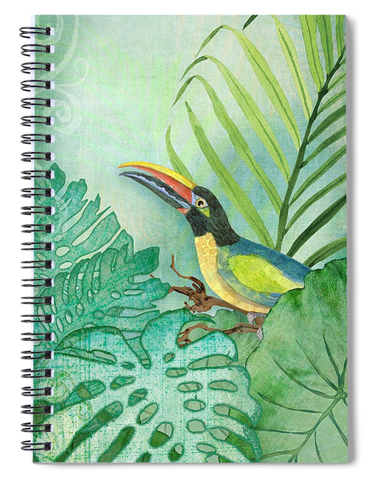 Toucan Spiral Notebook featuring the painting Rainforest Tropical - Tropical Toucan W Philodendron Elephant Ear And Palm Leaves by Audrey Jeanne Roberts