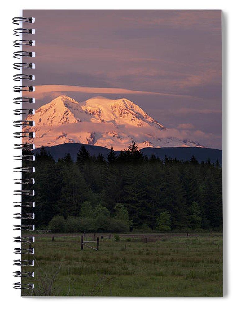 Mount Rainier Spiral Notebook featuring the photograph Rainier Dusk by Mike Reid